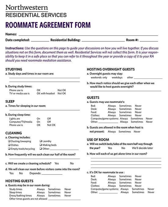 Sample Roommate Agreement Form