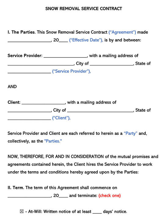 Snow Removal Service Contract