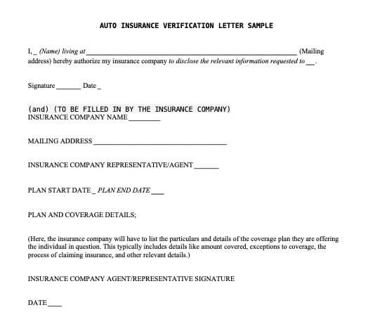 Auto Insurance Verification Letter
