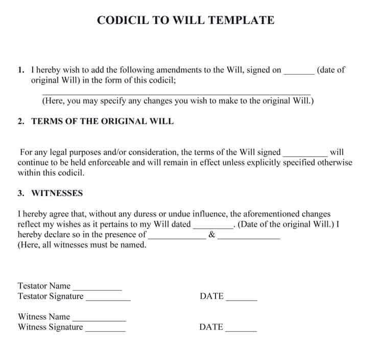 Codicil to will template