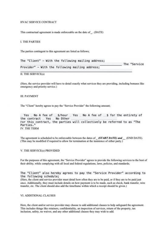 HVAC Service Contract Template Word 04-2020
