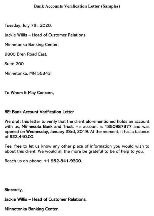 Bank Accounts Verification Letter (Samples)