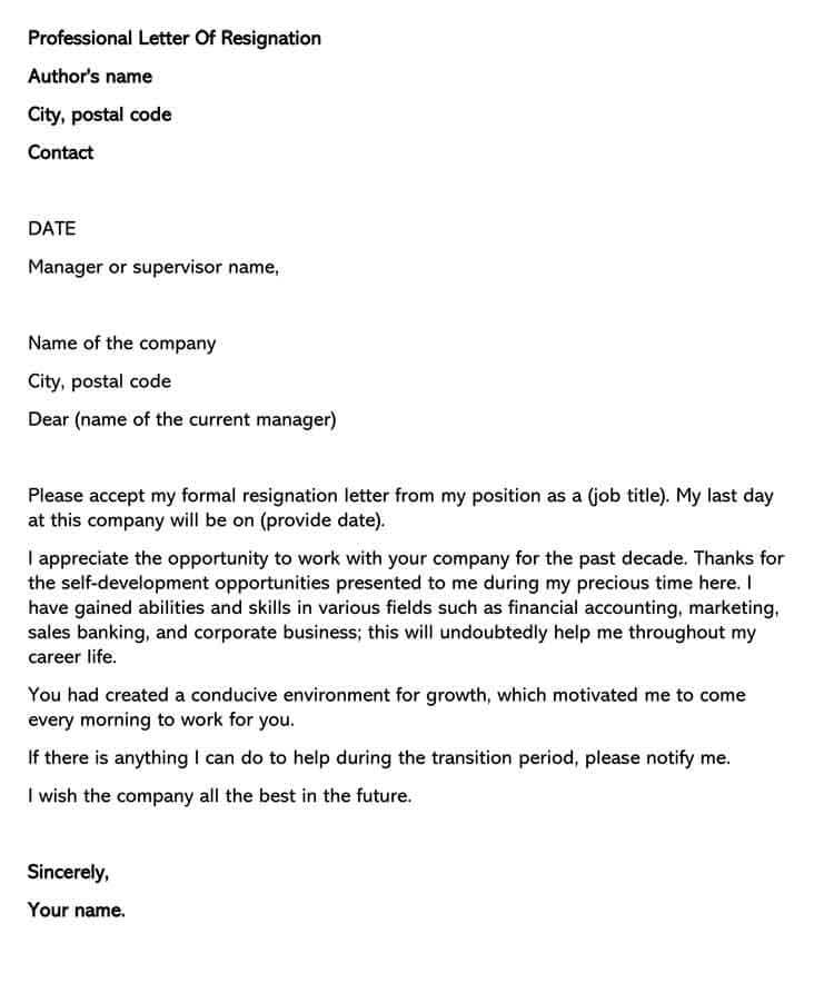 free professional letter of resignation templates how to