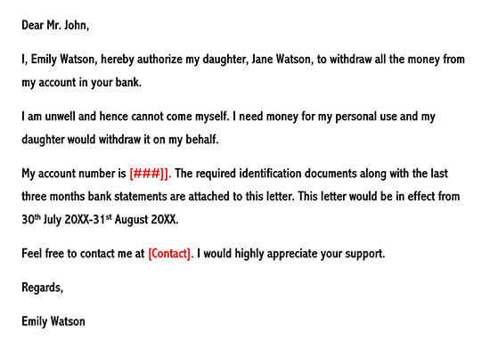 Authorization Letter for Bank Transactions on Behalf of Someone