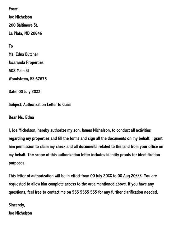 Authorization Letter to Act on Behalf of Someone 01