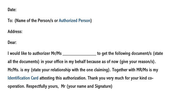 Authorization Letter to Collect Document Sample 02