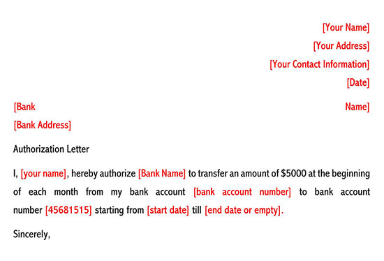 Authorize Bank to Perform Transaction on Your Behalf Letter