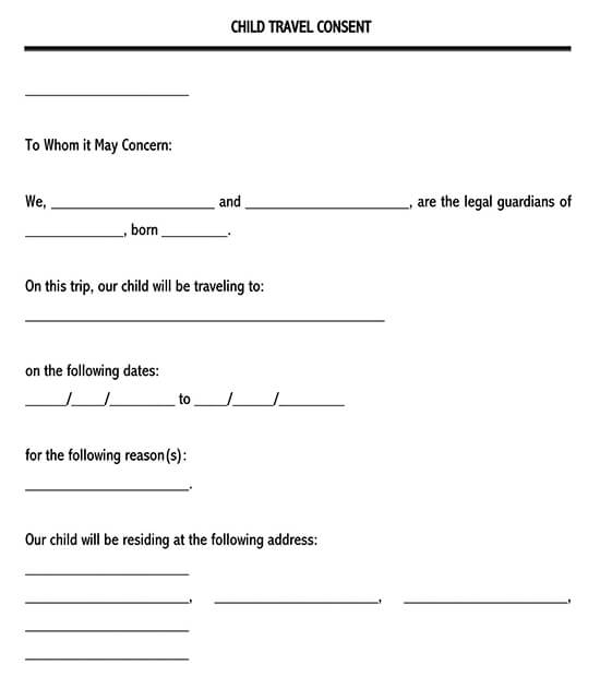 Child Travel Consent Form Clean