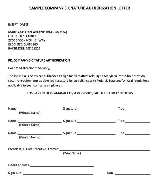 Company Signature Authorization Sample