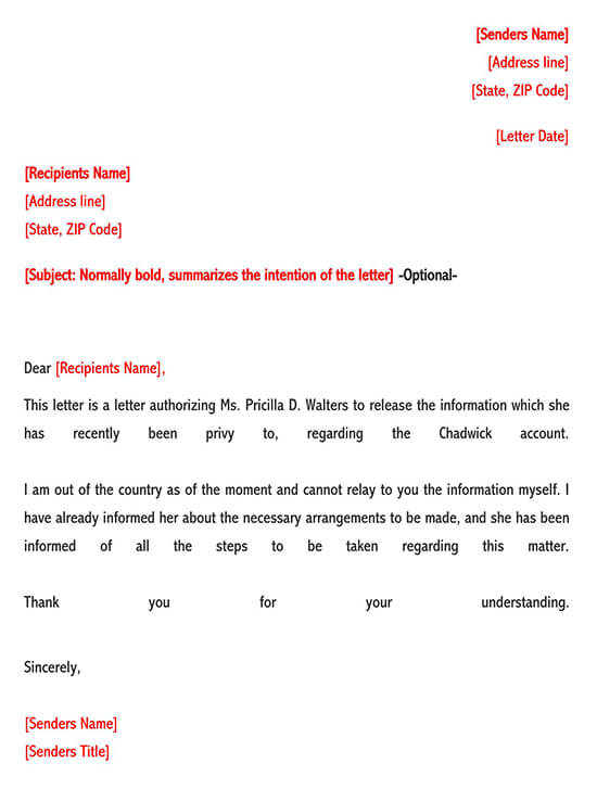 Example Authorization Letter to Release Information