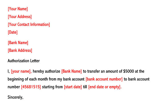 How to Write Authorization Bank Transactions on Your Behalf