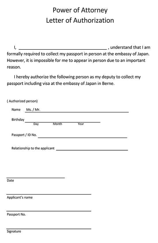 Lettre PDF d'autorisation de procuration