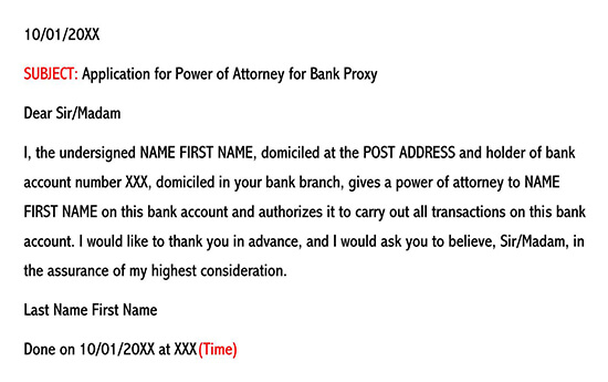 Sample Authorization Letter for Bank