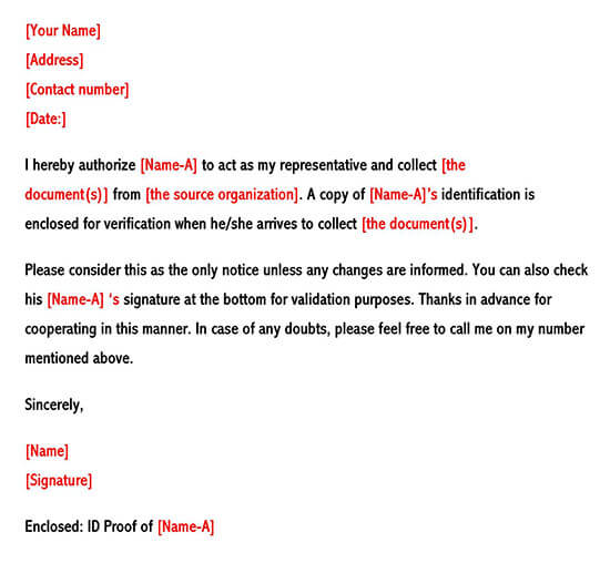 Sample Authorization Letter of Collection