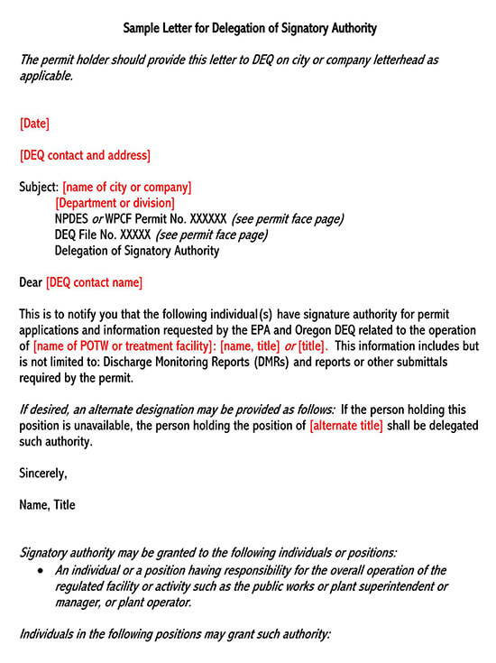 Sample Letter for Delegation of Signatory Authority