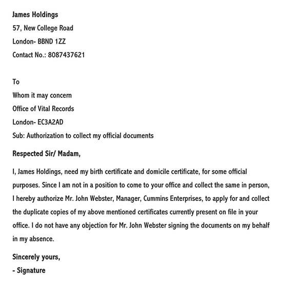 Sample Letter of Authorization to Collect Documents