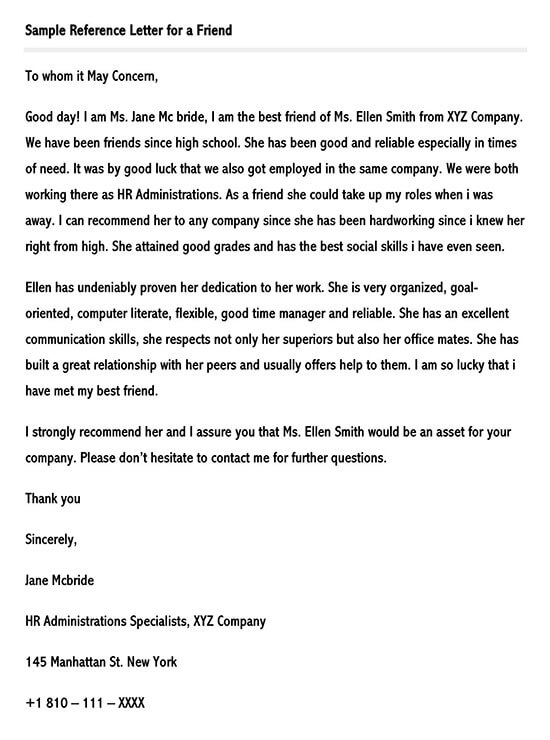 Sample Reference Letter for a Friend Template