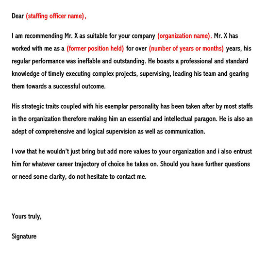 Sample of Employment Reference Letter