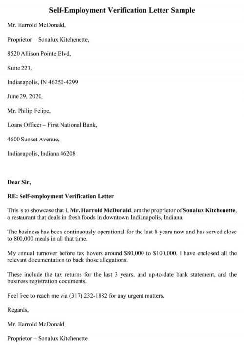 Free Self Employment Income Verification Letter Templates Word Pdf