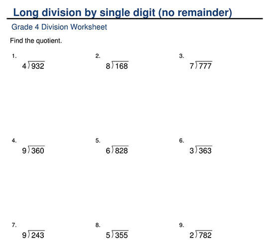 3-Digit Divided by 1-Digit with No Remainder Worksheet