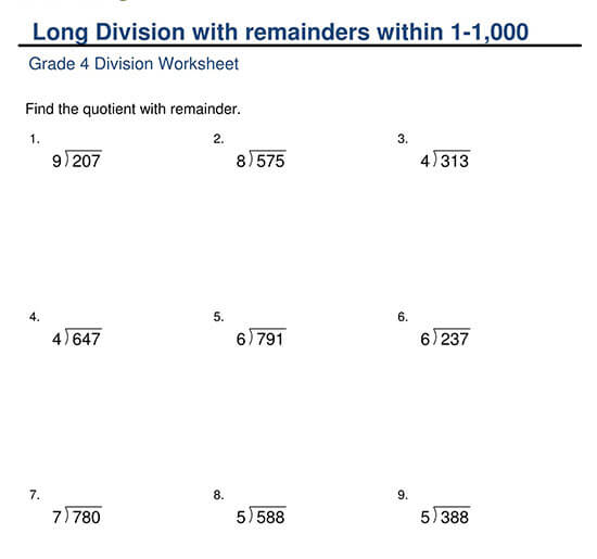 3-Digit Divided by 1-Digit with Remainder Worksheet