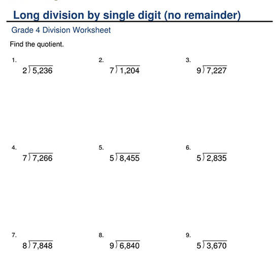4-Digit Divided by 1-Digit with No Remainder Worksheet