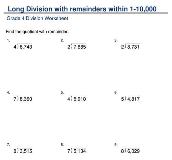 4-Digit Divided by 1-Digit with Remainder Worksheet