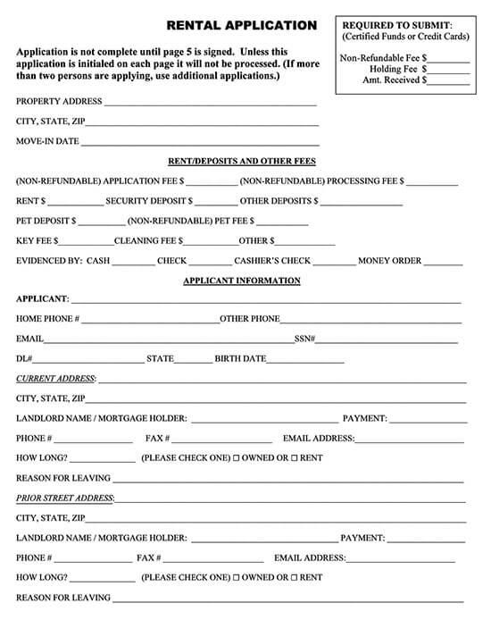 Association of Realtors Rental Application