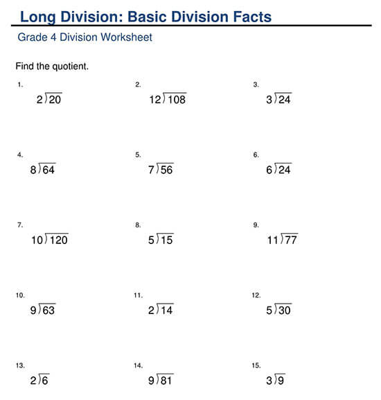 Basic Division Facts using Long Division Format