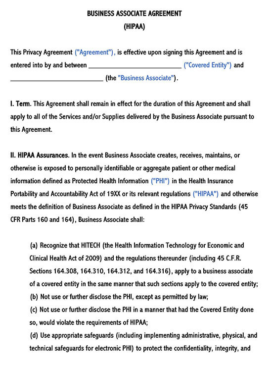 Business Associate Agreement HIPAA