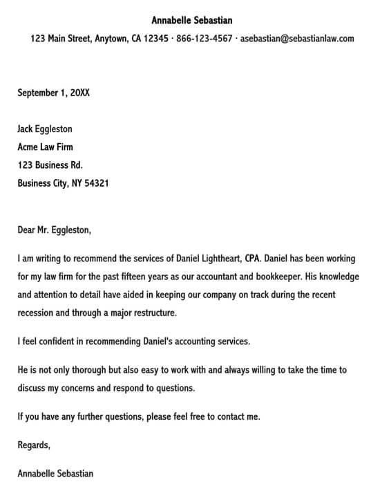 Business Letter for Recommendation Professional Service 02