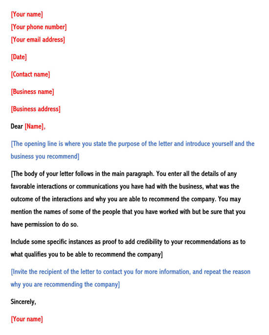 Business Recommendation Letter Sample