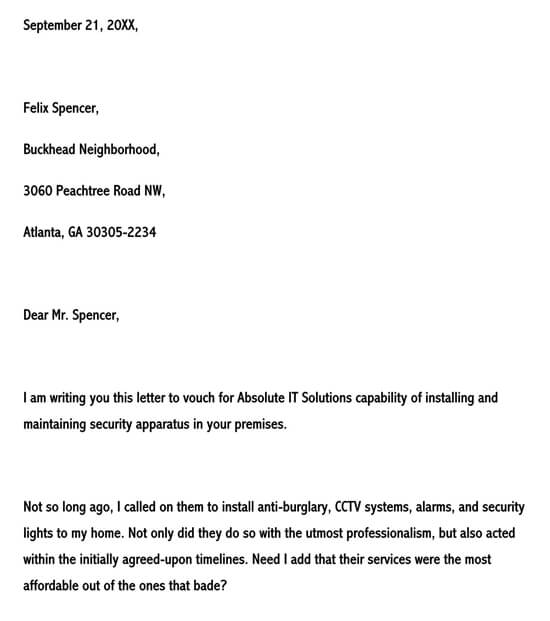 Business recommendation letter for an IT service