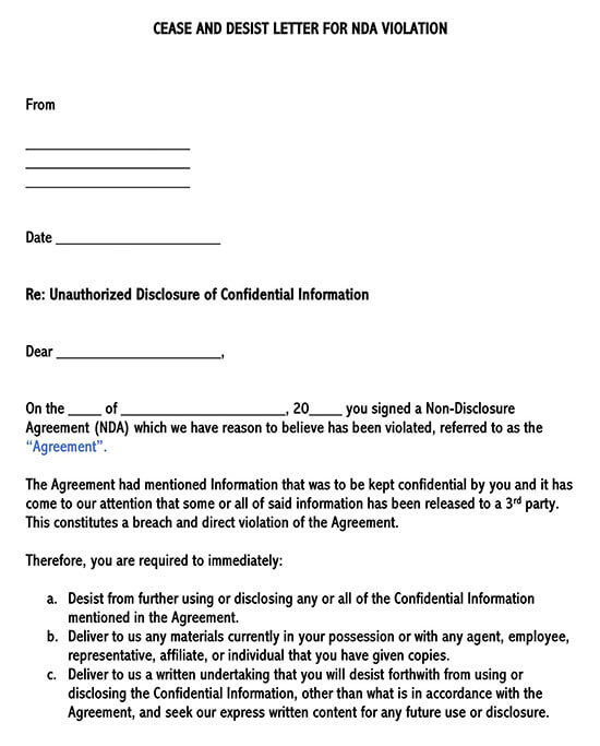 Cease and Desist Letter for Non-Disclosure Violation