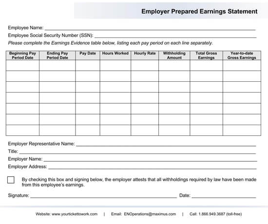 Employee Earning Statement Example