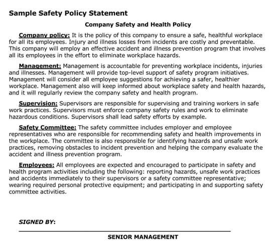 Employee Safety Policy Statement Example
