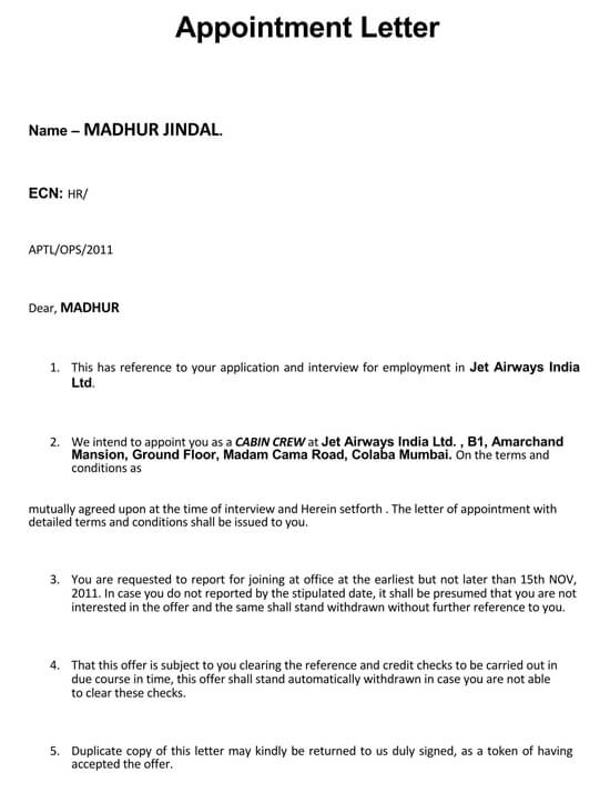 Employment Interview appointment letter Example