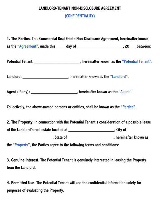 Landlord Tenant Confidentiality Agreement Template