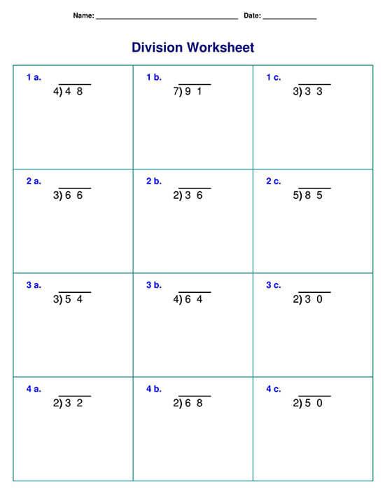 Long division with Single-digit Divisor Sample 02