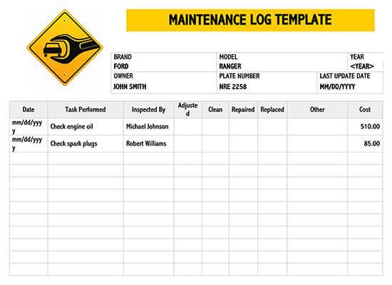 Maintenance Log Sample 03