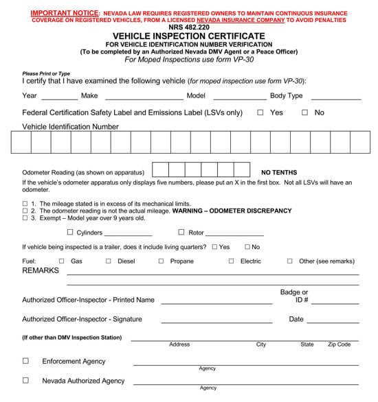 Nevada – Form VP15
