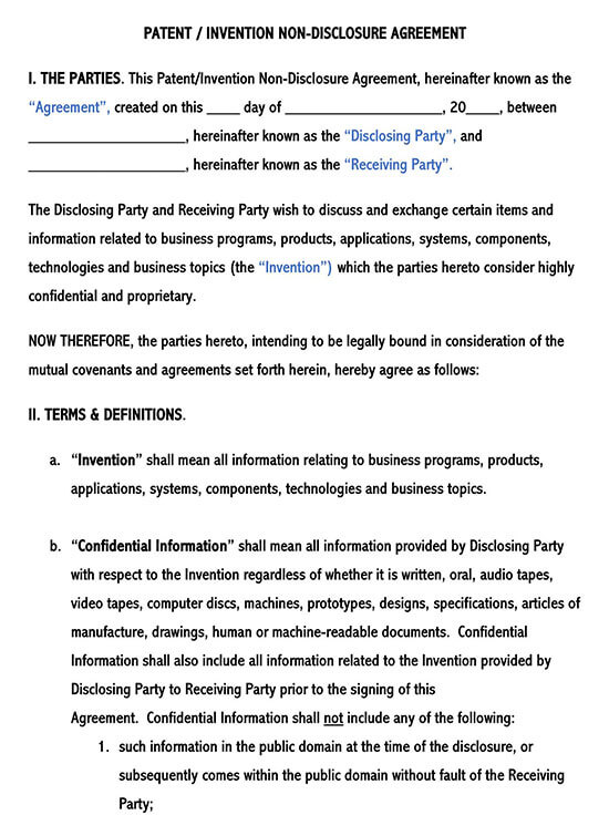 Patent Invention Non-Disclosure Agreement Template