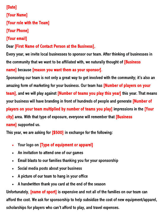 Perfect Sports Sponsorship Letter For Teams