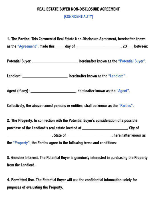 Real Estate Buyer Non-Disclosure Agreement Template