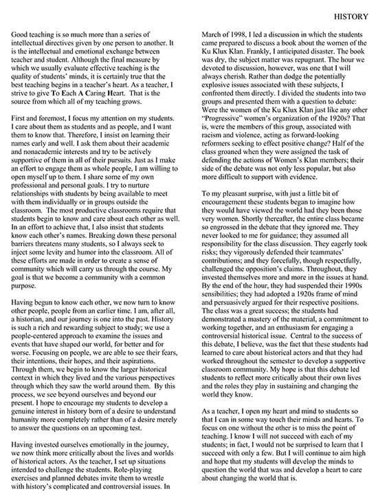 Reflective History Teaching Statement