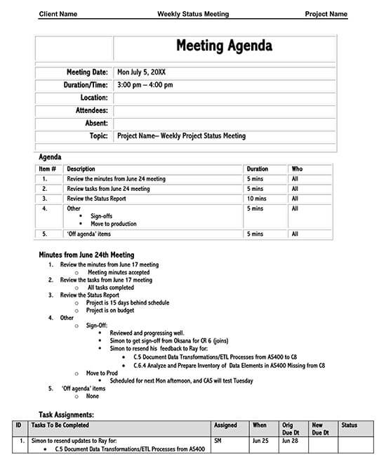 Sample Weekly Status Meeting Agenda