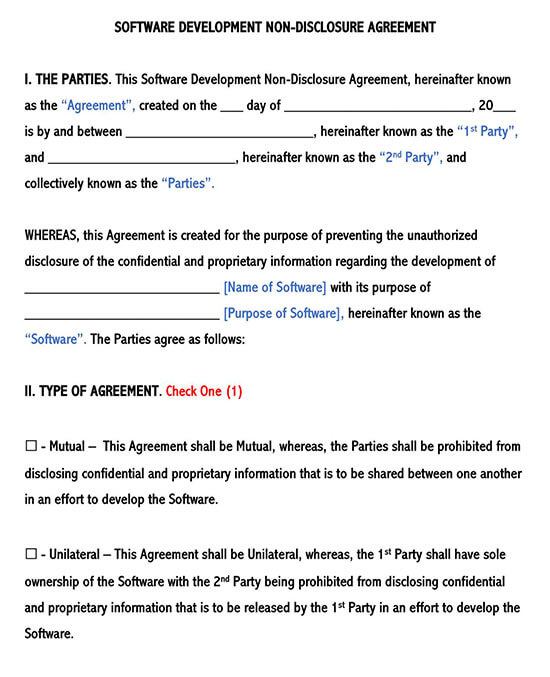 Software Development Non-Disclosure Agreement Template