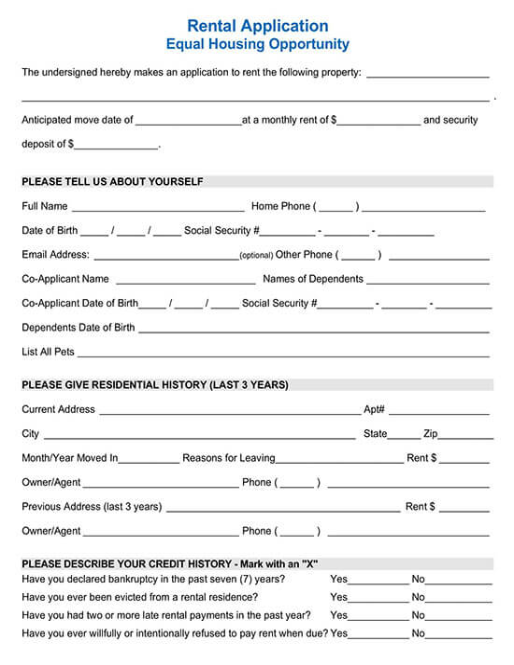 Standard Sample Rental Application