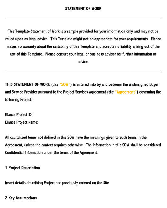 Statement of Work (Sow) Template for Word  12