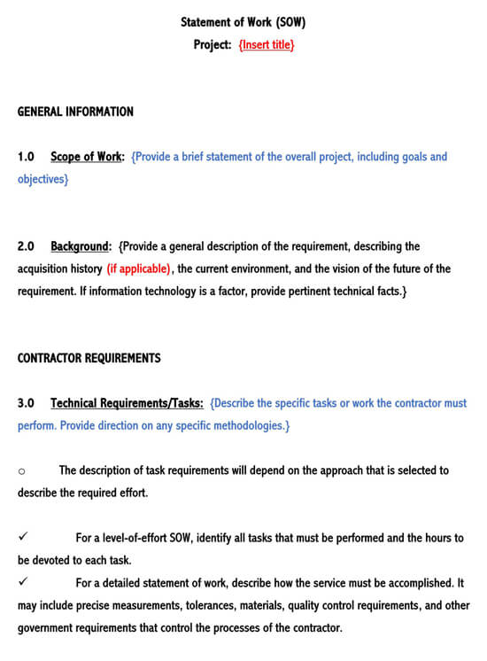 Statement of Work (Sow) Template for Word  13